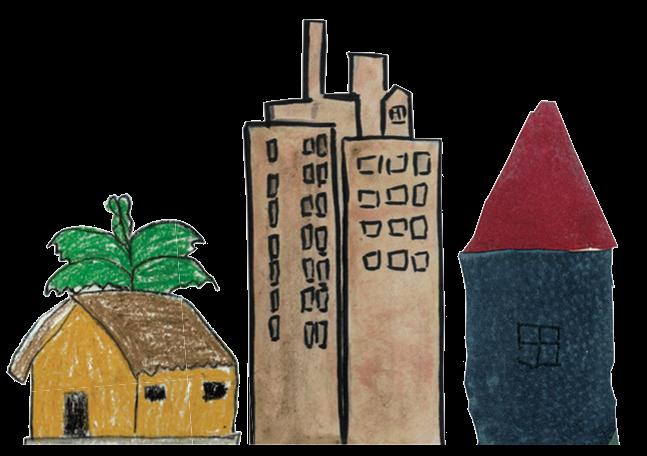 disegno di una capanna, un grattacielo e una casa