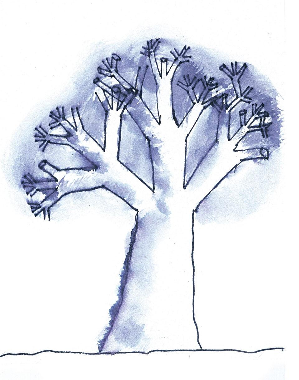 disegno in china di albero blu su sfondo bianco