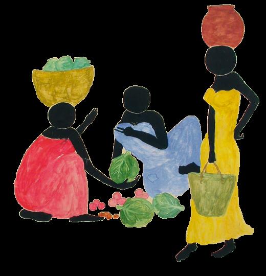disegno di donne con cesti di frutta e insalata su sfondo bianco