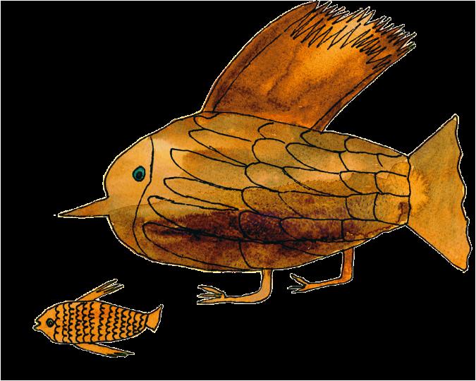 disegno di un uccello e un pesce dorati